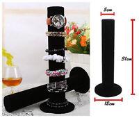 Black Velvet Watch Bangle Bracelet Jewelry Display Stand Holder Rack storage
