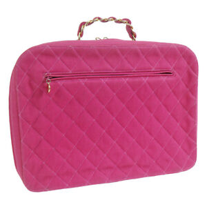CHANEL Quilted Chain Business Hand Bag Pink Canvas 1968793 Authentic AK31816b
