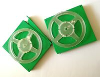 "5 3/4"" Two Transparent Empty Reel Spool for Recording Tape in Green Plastic Box."
