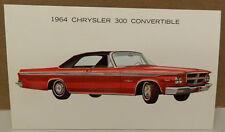 1964 64 RED CHRYSLER 300 CONVERTIBLE POSTCARD MOPAR DEALERSHIP PROMO DEALER