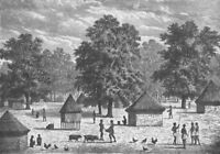 ANGOLA. Village in Bihe, East of Angola 1891 old antique vintage print picture