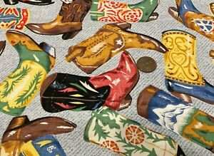 """Tossed Colorful Cowboy Boots on Blue""""Tex Mex Boots"""" 100% Cotton Remnant 21"""" x 8"""""""