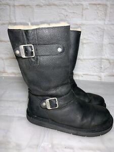 UGG Kensington Sheepskin Leather Outdoor Biker Boots Womens 8 #20893