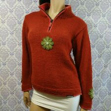Laundromat Chunky Half Zip Sweater Womens Size Small 100% Wool Hand Made Nepal