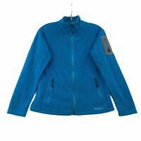 Eddie Bauer Womens Petite S Polartec Blue Fleece Zip Up Jacket Long Sleeve