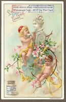 Artist Cherub - Angels Sculpture 1896 Trade Ad Card