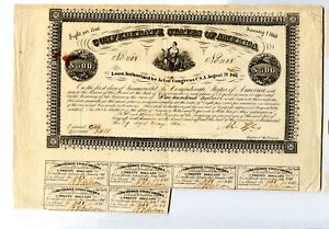 1862  $500  Confederate Bond   Only 1,132 issued    B-49