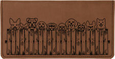 Peeking Pups Laser Engraved Leather Checkbook Cover