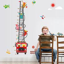 1Pcs Fire truck Height Measure Wall Sticker Mural Decals Home Kids Room Decor