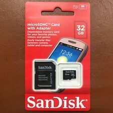 NEW SanDisk 32GB Micro SD SDHC Memory Card With Free SD Adapter