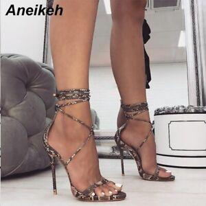 Women's Sandals PU Lace-Up Thin High Cover Heel Shallow Mature Serpentine Dance