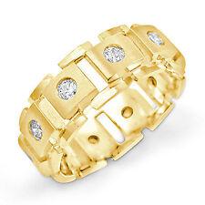 0.75 Ct Round Men's Diamond Eternity Wedding Ring 14k Gold Yellow F VS2 Band