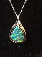 "Pear Shaped Opal & Diamond Pendant / Necklace 18 kt White Gold 18"""