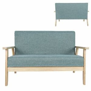 Wooden Fabric Loveseat Couch 2 Seaters Loveseat Sofa Garden Bedroom For Office