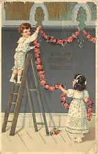 BG8833 boy and girl flower children  geburtstag birthday greetings germany