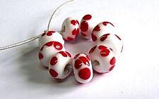 "Handmade lampwork Bead Set"", blanc/corail"""