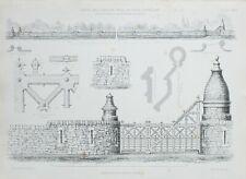 1868 ARCHITECTURAL PRINT GATES & GARDEN WALL AT COVE LOCHLAND THOMSON TOP RAIL