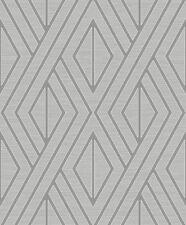 Pear Tree Feature Designer Geometric Diamonds Design Wallpaper Grey With Silver