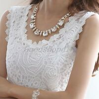 Size S-3XL Ladies Lace Tank Top Sleeveless T-shirt Vest Camisole Blouse Tee Tops