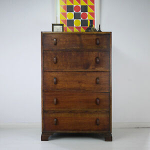 Vintage Art Deco Oak Tallboy Chest of 6 Drawers 1930s Herbert E Gibbs
