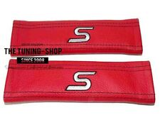 "2x Seat Belt Covers Pads Red Leather ""S"" Grey Embroidery for Ford"