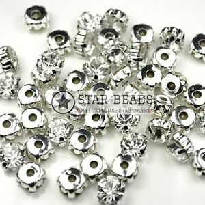 SEW ON GLASS CLAW CLEAR RHINESTONE SILVER PLATED BEADS 4MM,5MM,6MM,7MM