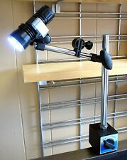 Bright LED Shop Work Light on Heavy Duty Micro Adjustable 45# Magnetic Base New