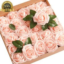 Ling moment Artificial Flowers Blush Pink Roses 25pcs Real Looking Fake Gift Box