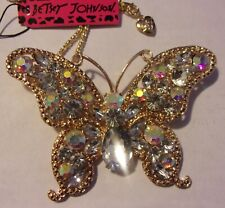 "BETSEY JOHNSON HUGE BUTTERFLY CRYSTAL PENDANT NECKLACE BROOCH 3.7"" X 2.75"