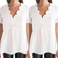 Womens Lace Short Sleeve Tunic Shirts V Neck Shirt Blouse Casual White Tee Top