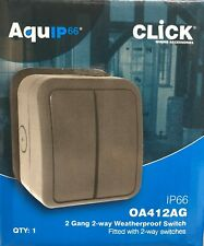 IP66 WEATHERPROOF 2 GANG 13A 2 WAY OUTSIDE GARDEN SWITCH OA412AG