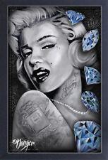 MARILYN MONROE BLUE DIAMONDS JAMES DANGER ART 13x19 FRAMED GELCOAT POSTER PAINT!