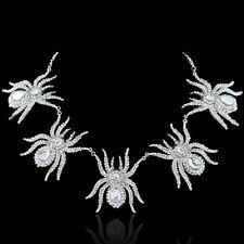Spider Animal Tarantula Necklace Pendant Clear Rhinestone Crystal Silver GP
