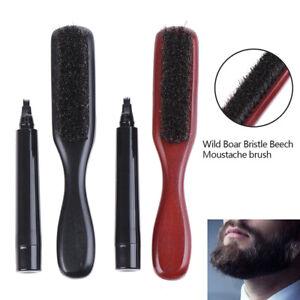 Men Boar Bristles Cleaning Beard Pen Grooming Brush Barber Filler Pencil Sha dd
