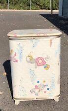 Vintage Child's Baby's Nursery Laundry Hamper Storage Chest Bin Can Circus EUC