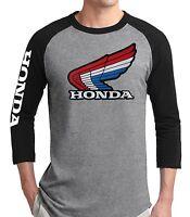 Retro RWB Honda Wing Baseball Tee T-shirt  Jersey Quad vintage TRX Motorcycle