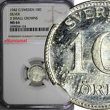 Sweden Gustaf V Silver 1942-G 10 Ore Ngc Ms64 3 Small Crowns Wwii