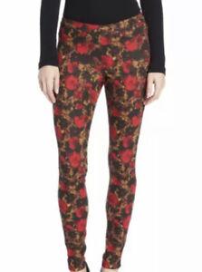 HUE U13843 Deep Red Abstract Floral Stretch Denim Jeans Leggings Size Medium