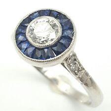 Vintage Art Deco18 K White Gold 0.50 ct Diamond 1.00 ct Sapphire Engagement Ring