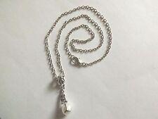 collier chaine argenté 46 cm avec pendentif sirène perle blanche 22x9 mm
