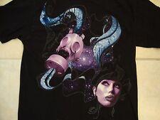 Empyre Clothing Established 1999 Gas Mask Galaxy Woman Soft Black T Shirt S / M