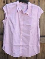 Susina Women's Size XL Shirt Pink White Summer Cap Sleeves Blouse Top  NEW