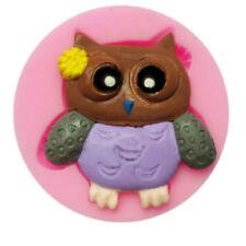 Silikon Backform Schokolade Torten Deko Fondant Eule Owl klein 1 Figur rosa