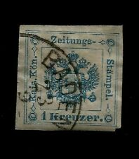 1877 Austria Arms Newspaper Tax Stamp Great Dated Postmark Baden 23/9