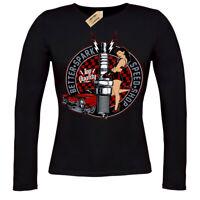 Better spark T-Shirt rockabilly hotrod speed shop pin up ladies long sleeve