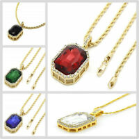 Ruby Crystal Pendant Hip Hop Necklace Men Women 14K Gold Tone Rope Chain Jewelry