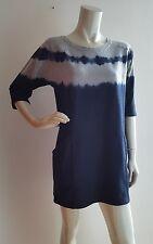 New KALEIDOSCOPE Grey / Navy Dip Dye Marley Jumper Dress 100%Cotton UK 10 EUR 36