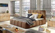 Polsterbett Doppelbett VERONA Set 1 Kunstleder Vintage Braun 140x200cm