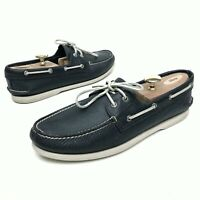 @@ Sperry Top Sider Men's Navy Blue Leather Boat Shoes Sz 12 M Loafers Flats EUC