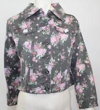 Motivi Denim Floral  Pink Rose Print Jacket - Gray - Size 6